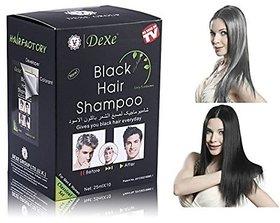 Black Hair Shampoo - 25 ml X 10 pcs. - Instant Black Color Hair Magic in 5 min.