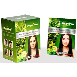 Instant Black Hair Herbal Shampoo - 10 Sachets X 30ml each - MAXX PRO
