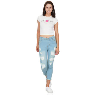 Essence Women's Slim Fit Light Blue Jeans