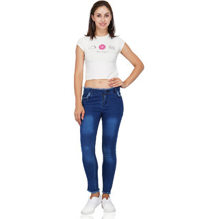 Code Yellow Women's Slim Fit Washed Blue Jeans