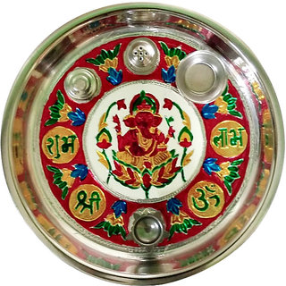 Pooja Aarti Thali with Decorative Meenakari Work for Home Temple
