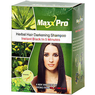 Hair Shampoo - 20 Sachets - Instant Black Color in 5 min by Maxx Pro