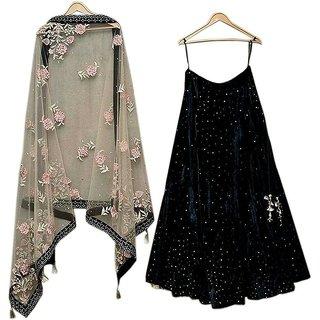 New Latest Bollywood Designer Black Velvet Embroidered Lehenga Choli.....