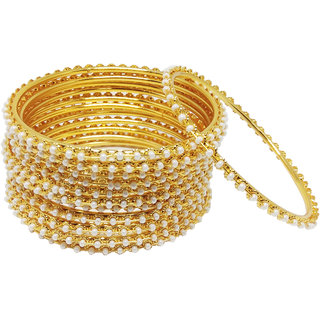 Chrishan High Gold Plated Designer Alloy Gold Pearl Bangle Set For Women.