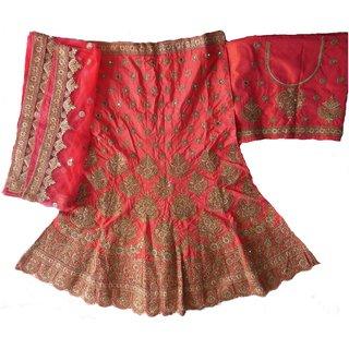 Shien Bridal/ wedding Women Raw silk Lehenga Choli (peach colorFreesize)