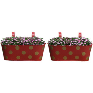 Viable Decor Metal Red Oval Shape Railing Planter Set of Two ,Railing Flower Garden Pots and Wall Planters for Balcony
