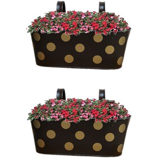 Viable Decor Metal Brown Oval Shape Railing Planter Set of Two ,Railing Flower Garden Pots and Wall Planters for Balcony