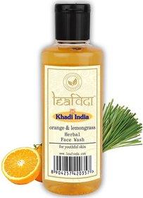 Khadi Leaf Veda Orange  Lemongrass Herabal Face Wash For Youthful Skin Face Wash  (210 ml)