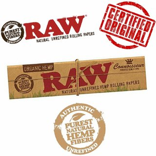 Radise Raw (Pack Of 5) Classic Connoisseur Kingsize Slim Rolling Papers with Tips