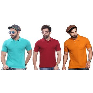 47f27473 Buy Kundan Exclusive Men's 100% Pure-Cotton V-Neck Full Sleeves Slim Fit & Polo  Neck Regular Fit Half Sleeves Plain T Shirt ( Pack of 3 T Shirt for Men )  ...