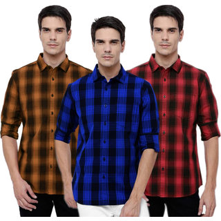 Black Bee Men's Checks Slim Fit Shirt (Pack of 3)