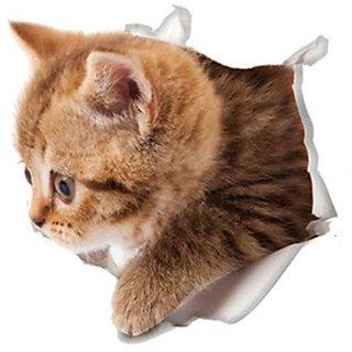 Futaba 3D Cat Hole View Cute Toilet Sticker - E