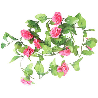 Futaba Artificial Silk Rose Flower Vine Leaves Decor - Pink