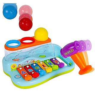 Smartcraft Xylophone Piano Pounding Bench for Kids with Balls and Hammer