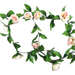 Futaba Artificial Silk Rose Flower Vine Leaves Decor - Champange