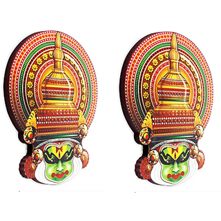 Keralashopee Printed MDF Kathakali Face Fridge Magnet 1 Set (2 Pcs)