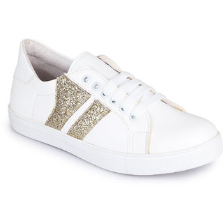 Picktoes White & Gold Sneakers For Women