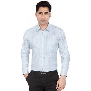 Dudlind Men's Formal Slim Fit Checkered Shirt - Full Sleeves - Colour Blue - Medium Size