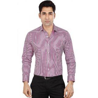 Dudlind Men's Formal Slim Fit Checkered Shirt - Full Sleeves - Colour Pink - Medium Size