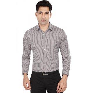 Dudlind Men's Formal Slim Fit Checkered Shirt - Full Sleeves - Colour Brown - Medium Size