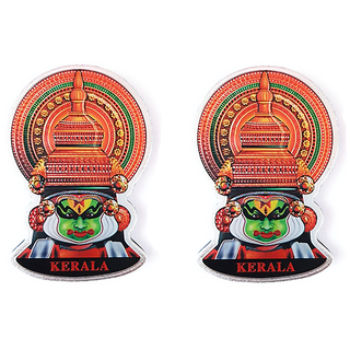 Keralashopee Kathakali Face Fridge Magnet in Aluminium 1 Set (2 pcs)