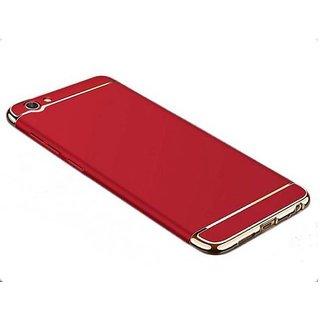 Kartik Luxury 3-in-1 Slim Fit 360 Protection Hybrid Hard Bumper Back Case Cover for VIVO Y71 (Red  Golden)