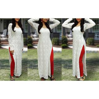 Shilpa White Plain Cotton Stitched kurti For Women