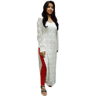 Shilpa White Plain Cotton Stitched kurti For Women