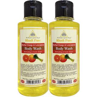Khadi Pure Herbal Orange  Lemongrass Body Wash - 210ml (Set of 2)