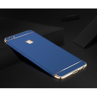 Kartik Luxury 3-in-1 Slim Fit 360 Protection Hybrid Hard Bumper Back Case Cover for VIVO Y83 (Blue  Golden)