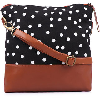 Suprino Women and girls Canvas Polka Dot Printed Black Sling Bag