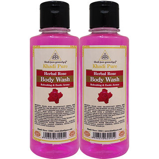 Khadi Pure Herbal Rose Body Wash - 210ml (Set of 2)