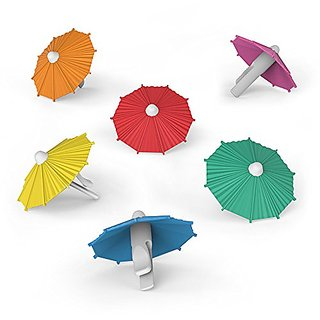 Smartcraft Umbrella Drink Markers (Pack of 6)  Umbrella Shaped Easy to Clip Silicone Food Grade Drink Markers Identifie