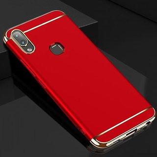 Kartik Luxury 3-in-1 Slim Fit 360 Protection Hybrid Hard Bumper Back Case Cover for VIVO V9 (Red  Golden)