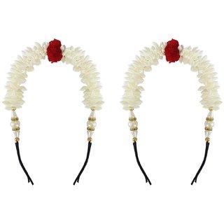 Gulzar New Style Juda Maker Gajra (Veni) For Women Wedding Combo Hair Accessories For Girls And Women, White, 35 Gram, P