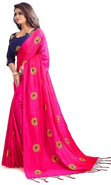 Buttipink Saree With Designer Blouse Piece And Bright Embroidery Work