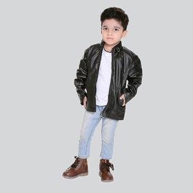 Pari & Prince Kids Leather (PU) Black Jacket
