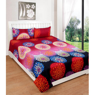 Manvi Creations Polycotton 3D Printed Double Bed Sheet with 2 Pillow Covers Multicolor