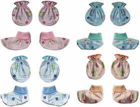 Shien Pack of 4 Different Color Booties and Mittens Set for New Born Baby boy and Girl (0-6month)