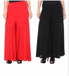 Combo of 2 Plain Palazzo ( Red and Black)