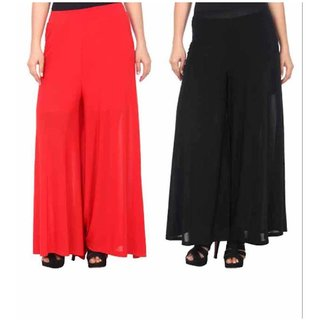 Combo of 2 Plain Cotton Lycra Palazzo ( Red and Black)