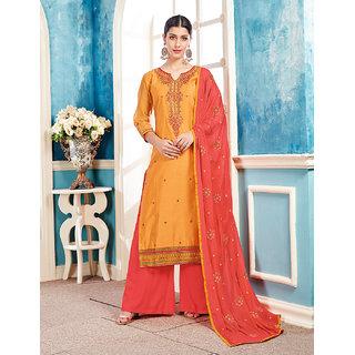 Kvsfab Mustard  Peach Color Embroidery Dress Material KVSSK172MATRIX