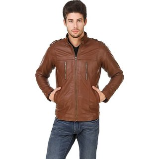 Garmadian Brown Pu Leather Jacket For Men, boys