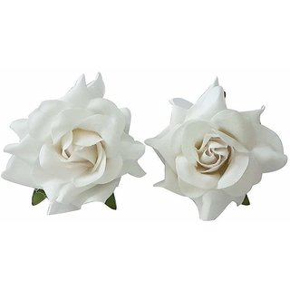 Gulzar Rose Flower Hair Clip/Brooch Pins Hair Accessories for Women, White, Set of 2Pcs, 10Grams, Pack of 1