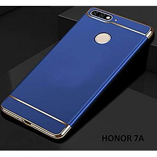Kartik Luxury 3-in-1 Slim Fit 360 Protection Hybrid Hard Bumper Back Case Cover for Huawei Honor 7A (Blue  Golden)