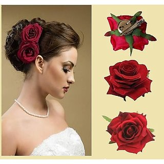 Gulzar  Flower Hair Clips, Hair Pin Rose, Hair Accessories Clips For Women And Girls, Red, 10 Gram, Set Of 2, Pack Of 1