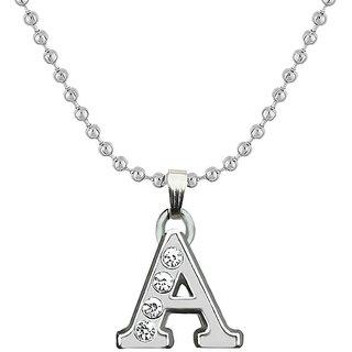 JewelMaze Rhodium Plated A Alphabet Chain Pendant-1203177