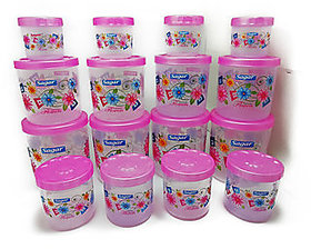 Twister Plastic Containers Set of 16 PCS (2400ml, 1600ml, 800ml, 400ml) Pink