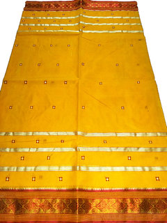 Dhaniakhali Tant Collection pure cotton Handloom Yellow Sareewith Red saree