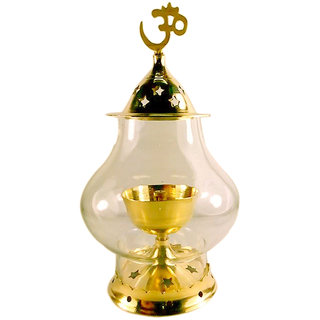 Viable Decor  Brass Gold Akhand Diya Big Oil Puja Lamp 6.4 Inch